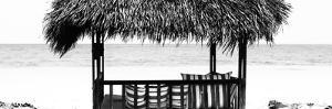 Cuba Fuerte Collection Panoramic BW - Beach Hut II by Philippe Hugonnard