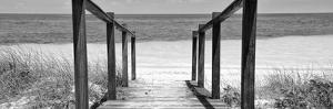 Cuba Fuerte Collection Panoramic BW - Boardwalk on the Beach II by Philippe Hugonnard