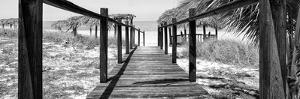 Cuba Fuerte Collection Panoramic BW - Boardwalk on the Beach by Philippe Hugonnard