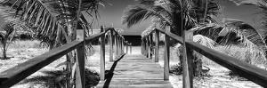 Cuba Fuerte Collection Panoramic BW - Wooden Jetty on the Beach by Philippe Hugonnard