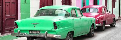 Cuba Fuerte Collection Panoramic - Classic American Cars - Green & Rasberry
