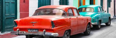Cuba Fuerte Collection Panoramic - Classic American Cars - Red & Turquoise