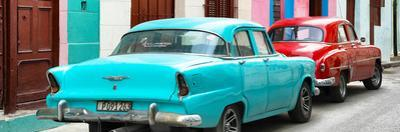 Cuba Fuerte Collection Panoramic - Classic American Cars - Turquoise & Red