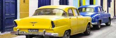 Cuba Fuerte Collection Panoramic - Classic American Cars - Yellow & Blue