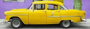 Cuba Fuerte Collection Panoramic - Classic American Yellow Car in Havana by Philippe Hugonnard