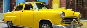 Cuba Fuerte Collection Panoramic - Close-up of Yellow Taxi of Havana III by Philippe Hugonnard