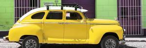 Cuba Fuerte Collection Panoramic - Yellow Vintage Car by Philippe Hugonnard