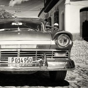 Cuba Fuerte Collection SQ BW- Close-up of American Classic Car II by Philippe Hugonnard