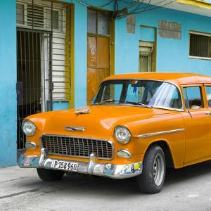 Cuba Fuerte Collection SQ - Classic American Orange Car in Havana by Philippe Hugonnard