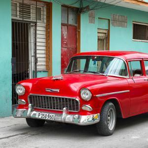 Cuba Fuerte Collection SQ - Classic American Red Car in Havana by Philippe Hugonnard