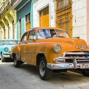 Cuba Fuerte Collection SQ - Two Chevrolet Cars Orange and Turquoise by Philippe Hugonnard