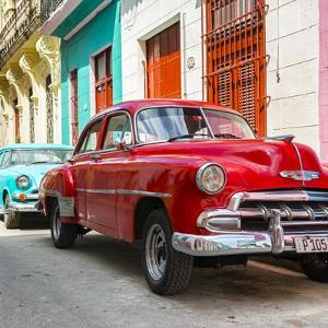 Cuba Fuerte Collection SQ - Two Chevrolet Cars Red and Turquoise by Philippe Hugonnard