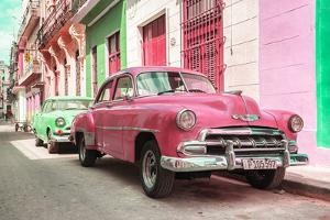 Cuba Fuerte Collection - Two Chevrolet Cars Pink and Green by Philippe Hugonnard
