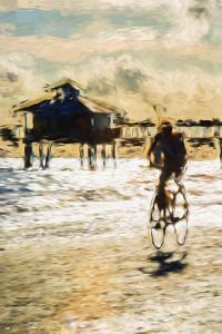 Cyclist - In the Style of Oil Painting by Philippe Hugonnard