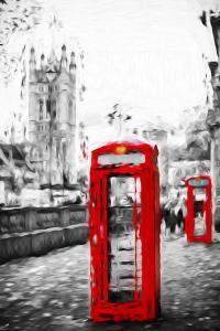 Dual Phone Booths - In the Style of Oil Painting by Philippe Hugonnard