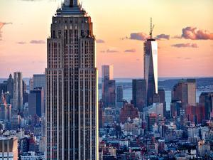Empire State Building and One World Trade Center at Sunset, Midtown Manhattan, New York City, US by Philippe Hugonnard