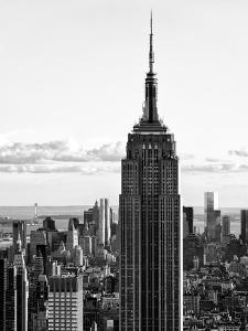 Empire State Building from Rockefeller Center at Dusk, Manhattan, NYC, Black and White Photography by Philippe Hugonnard
