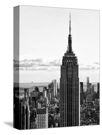 Empire State Building from Rockefeller Center at Dusk, Manhattan, NYC, Black and White Photography