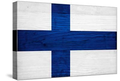 Finland Flag Design with Wood Patterning - Flags of the World Series