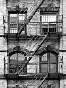 Fire Escape, Stairway on Manhattan Building, New York, United States, Black and White Photography by Philippe Hugonnard