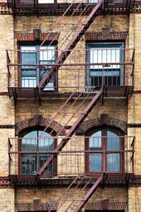Fire Escape, Stairway on Manhattan Building, New York, US, White Frame, Full Size Photography by Philippe Hugonnard