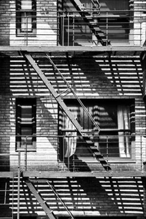 Fire Escape, Stairway on Manhattan Building, NYC, White Frame, Full Size Photography by Philippe Hugonnard