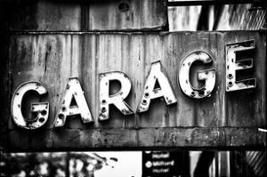Garage Sign, W 43St, Times Square, Manhattan, New York, White Frame, Full Size Photography by Philippe Hugonnard
