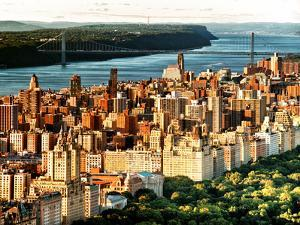 George Washington Bridge at Sunset from Central Park and Hudson River, Manhattan, New York by Philippe Hugonnard
