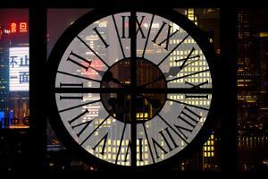 Giant Clock Window - View of Downtown Shanghai by Night - China by Philippe Hugonnard