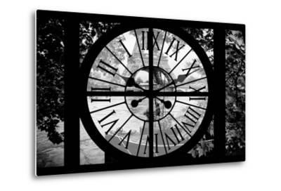 Giant Clock Window - View on the River Seine with a barge in front of the Eiffel Tower