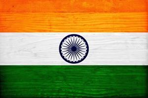 India Flag Design with Wood Patterning - Flags of the World Series by Philippe Hugonnard
