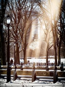 Instants of NY Series - Winter Snow with Street Lamp in Central Park View by Philippe Hugonnard