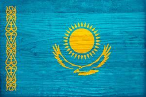Kazakhstan Flag Design with Wood Patterning - Flags of the World Series by Philippe Hugonnard