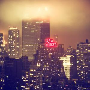 Landscape Foggy Night in Manhattan with the New Yorker Hotel View by Philippe Hugonnard