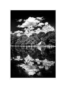 Landscape Mirror, Central Park, Conservatory Water, Manhattan, New York, White Frame by Philippe Hugonnard