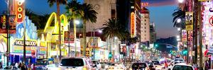 Landscape Panoramic, Night, Hollywood Blvd, Los Angeles, California, United States, USA by Philippe Hugonnard