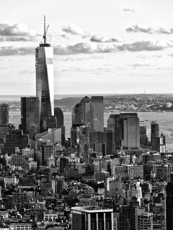 Landscape Sunset View, One World Trade Center, Manhattan, New York, US, Black and White Photography by Philippe Hugonnard