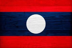 Laos Flag Design with Wood Patterning - Flags of the World Series by Philippe Hugonnard