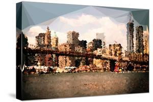 Low Poly New York Art - Brooklyn Bridge View II by Philippe Hugonnard