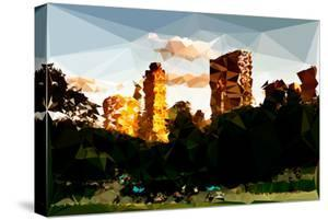 Low Poly New York Art - Central Park Buildings at Sunset II by Philippe Hugonnard