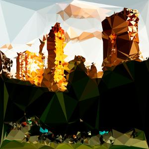 Low Poly New York Art - Central Park Buildings at Sunset III by Philippe Hugonnard