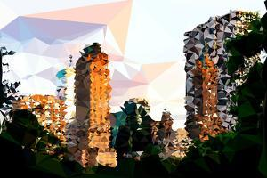 Low Poly New York Art - Central Park Buildings at Sunset V by Philippe Hugonnard