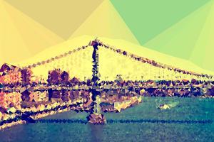 Low Poly New York Art - Manhattan Bridge by Philippe Hugonnard
