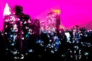 Low Poly New York Art - Manhattan Deep Pink Night by Philippe Hugonnard