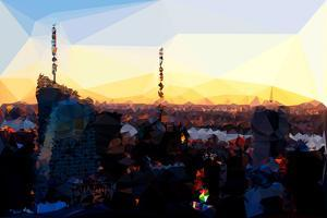 Low Poly New York Art - Manhattan Downtown Sunset by Philippe Hugonnard