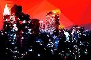 Low Poly New York Art - Manhattan Red Night by Philippe Hugonnard