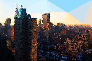 Low Poly New York Art - Manhattan Sunrise by Philippe Hugonnard