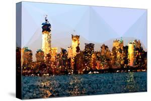 Low Poly New York Art - Manhattan View at Sunset by Philippe Hugonnard