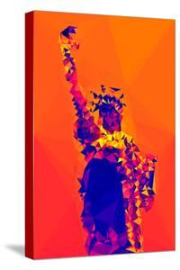 Low Poly New York Art - Orange Lady Liberty by Philippe Hugonnard