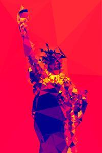 Low Poly New York Art - Red Lady Liberty by Philippe Hugonnard